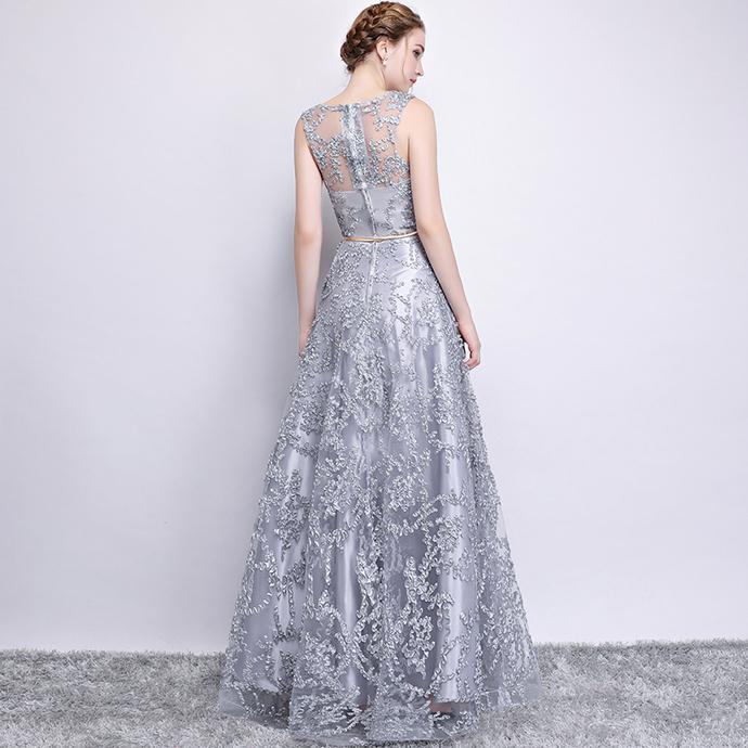 Light Grey Lace Long Bridesmaid Dress, A-line Floor Length Party Dress