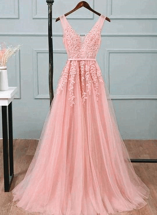 Pink V-neckline Pretty Long Tulle with Lace Applique Bridesmaid Dress, Pink