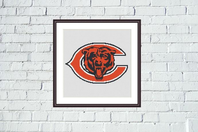 Chicago Bears logo cross stitch