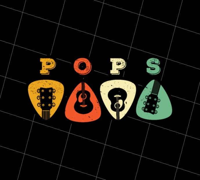 Pops Guitar, Guitar Picks, Retro Guitarist, Guitar Player, Gift Idea, Digital
