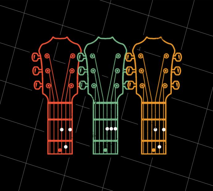 Retro Guitar Dad, Dad Guitar Chords, Guitar Player, Vintage, Gift Idea, Digital