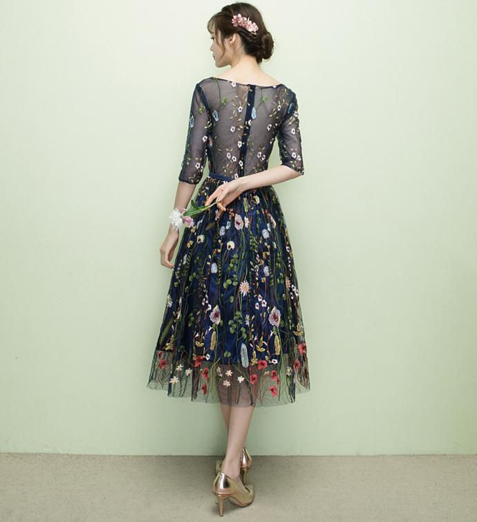 Navy Blue Tea Length Floral Homecoming Dress, Blue Bridesmaid Dresses