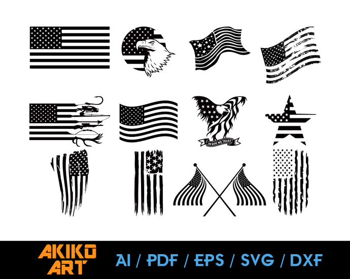American Flag Vector Flag Dxf Eps Png By Akiko Art On Zibbet
