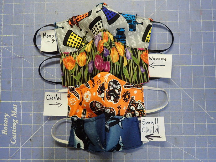 2 colored washable facemask for school or team 100% cotton & flannel wire at