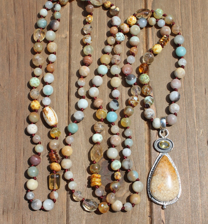 Long Double Wrap Sunshine Hand Knot Beaded Necklace with Pendant by KnottedUp