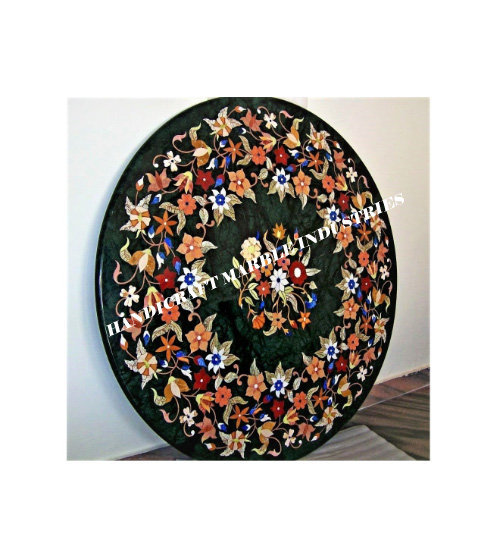 "36"" inch Round Marble Center Table Pietra Dura Pattern Inlay Floral Marquetry"
