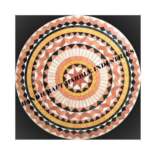 """24""""x24"""" Inch Geometrical Design Black Marble Round Coffee Table, Center Table,"""