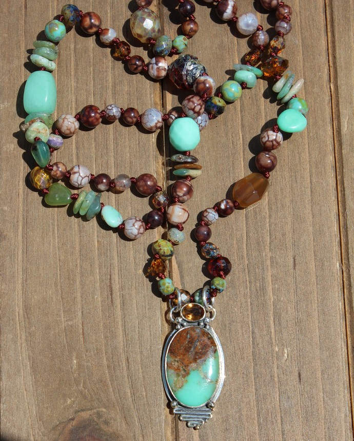 Boulder Chrysoprase, Long Beaded Necklace with Pendant, Exquisite Hand knot