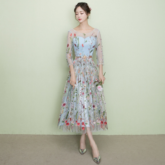 Grey Tea Length Floral Bridesmaid Dress, A-line Short Prom Dress