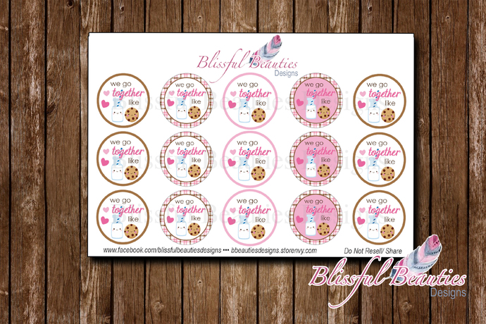 """Milk and Cookies - 1"""" Round Bottle Cap Images"""