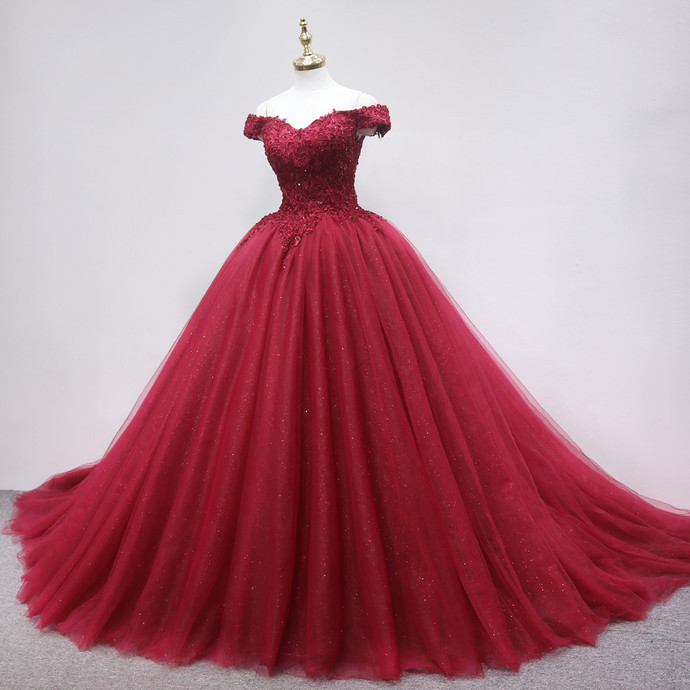Glam Red Tulle Sweetheart Ball Gown Long Party Dresses, Quinceanera Dresses
