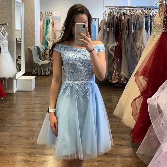 Light Blue Tulle Homecoming Dresses, Short Lace Applique Prom Dress