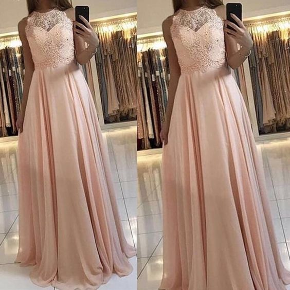 lace applique chiffon prom dresses pink elegant sleeveless cheap a line prom