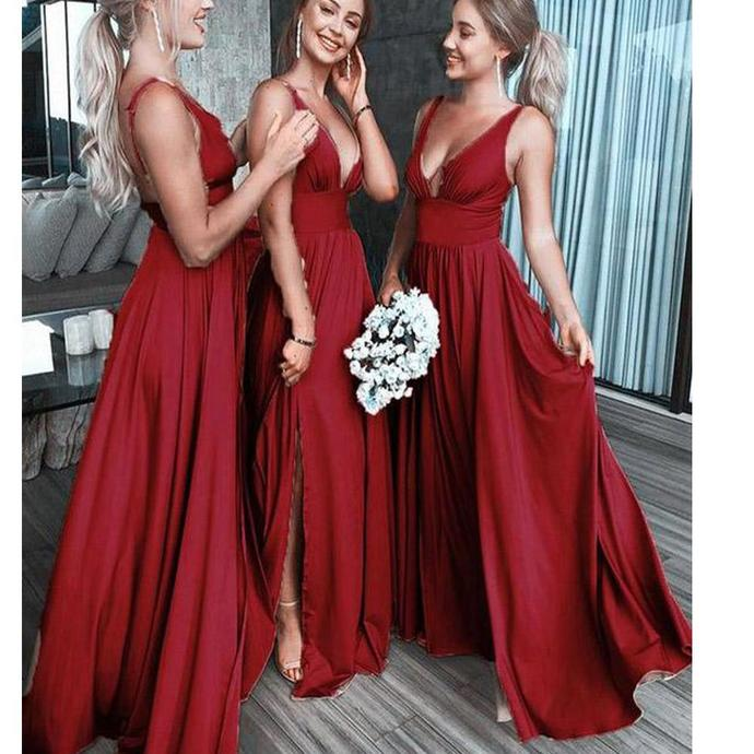 burgundy satin bridesmaid dresses long v neck sleeveless cheap sexy wedding