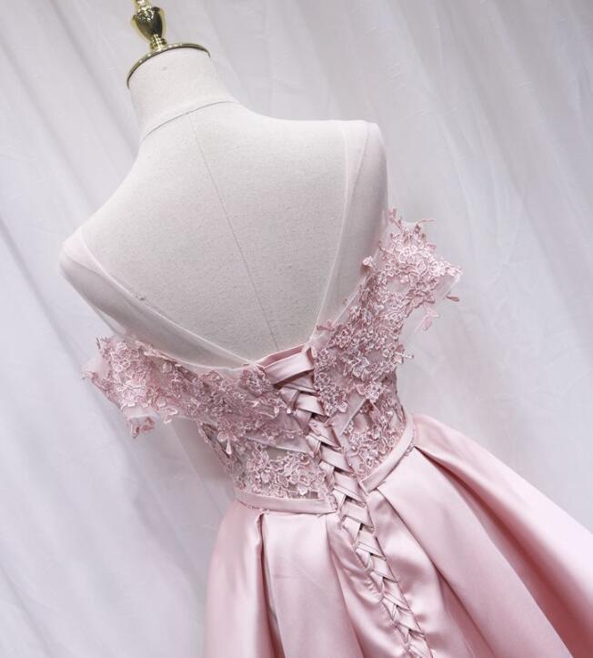 Pink Off Shoulder Homecoming Dress, Pink Lace Bridesmaid Dress
