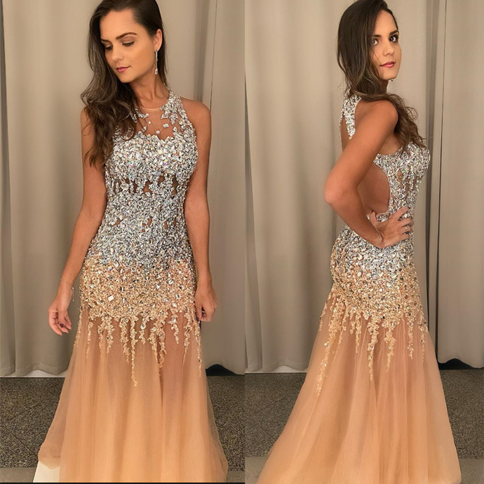 champagne evening dresses long lace applique beaded mermaid modest backless sexy