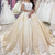 boho champagne wedding dresses ball gown short sleeve lace applique vintage