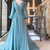 simple blue prom dresses long sleeve v neck elegant chiffon cheap a line prom
