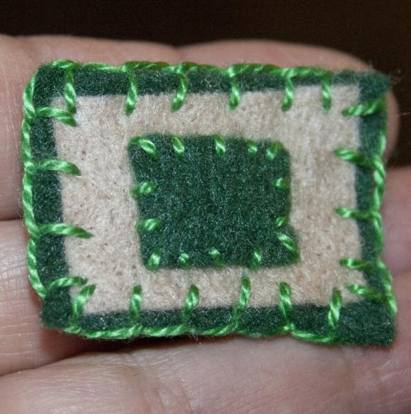 Green Rectangles felt pin