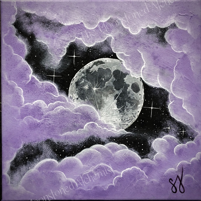 "12""x 12"" PRINT Moonstoned Purple Moonscape Acrylic Painting"