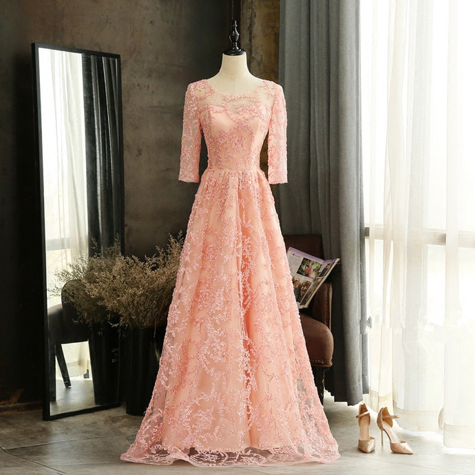 Pink Short Sleeves Lace A-line Floor Length Formal Dress, Pink Prom Dress