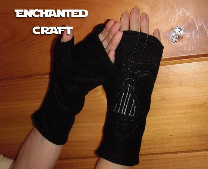 Fleece DARTH VADER Fingerless Gloves for the Star Wars fan