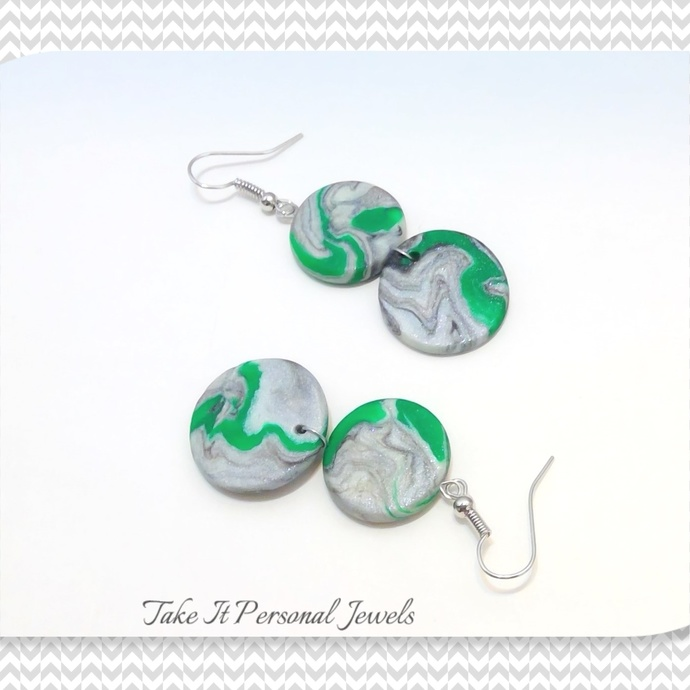 Marble Style Green Earrings Polymer Clay Jewelry