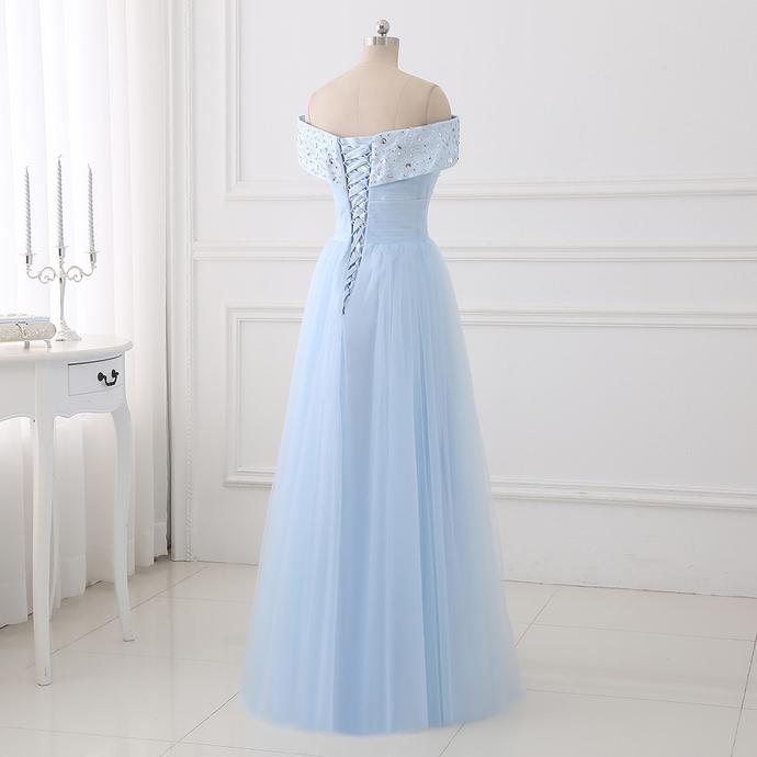 Simple Light Blue Sweetheart Beaded Long Party Dress, Beautiful Bridesmaid Dress
