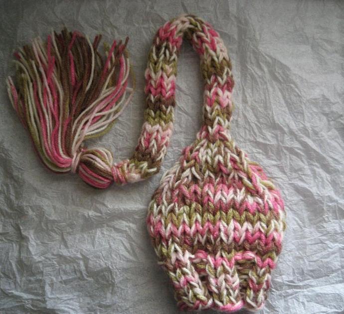 """Newborn Woolly Long Tail Elf Hat in """"Sweet Dreams"""""""
