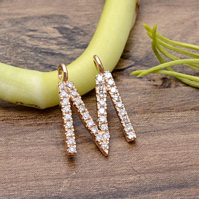 14 K Gold Diamond Alphabet M Block Letter 9MM Initial Pendant Jewelry, 14K Gold