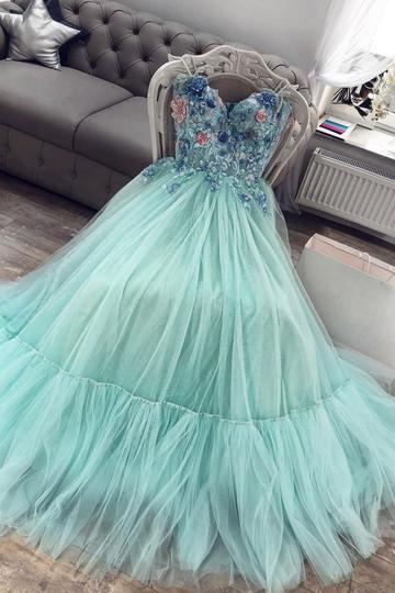 turquoise blue prom dresses long sweetheart neck lace applique beaded elegant