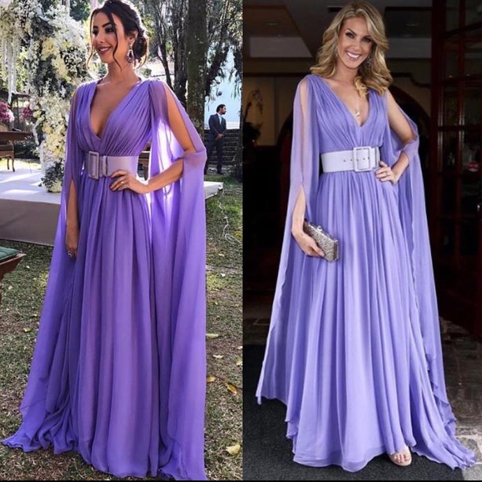 lavender prom dresses long chiffon v neck sleeveless elegant simple prom gown