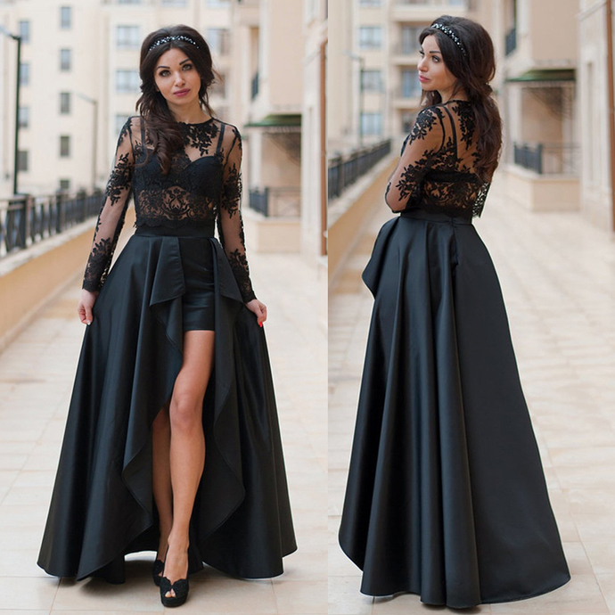 black lace prom dresses with detachable skirt long sleeve elegant cheap prom