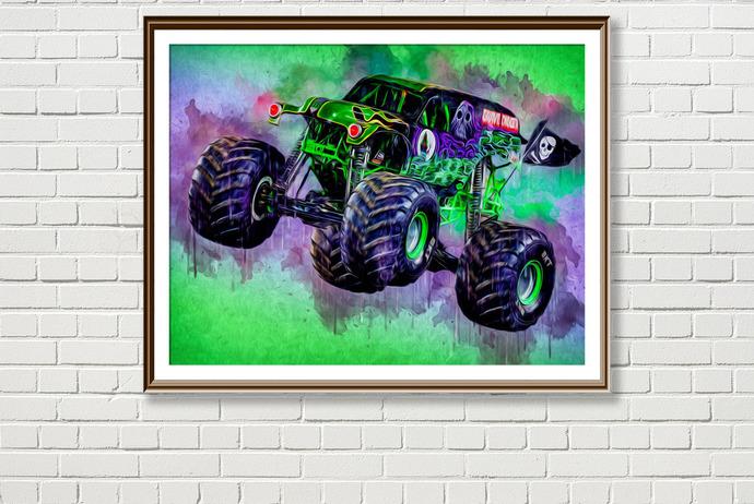 Grave Digger Monster Truck Print By Sergiocolorsstudio On Zibbet