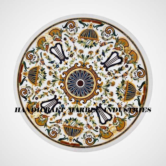 """48""""X 48"""" Inch Round Marble Dining Table Inlay Multi Color Floral Pietra Dura"""
