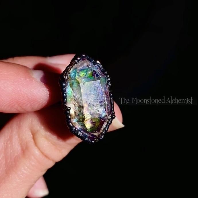 Grade A Large Celestial Herkimer Diamond Ring - Dark Copper