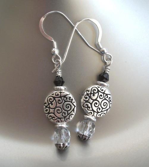 Czech Glass Handmade Sterling Silver Earrings with Trendy Round Silver Scroll