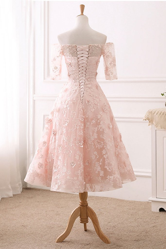 Pink Lace Tea length Flowers Short Sleeves Party Dress, Pink Bridesmaid Dress
