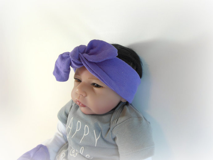 Swaddle Sack, Scratch Mittens, Tie Knot Headband in Solid Purple