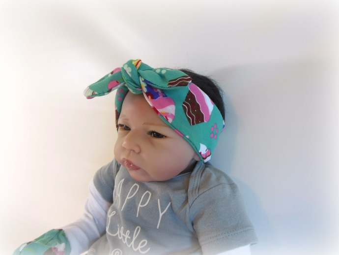 Swaddle Sack, Scratch Mittens Tie Knot Headband in Cupcake Print