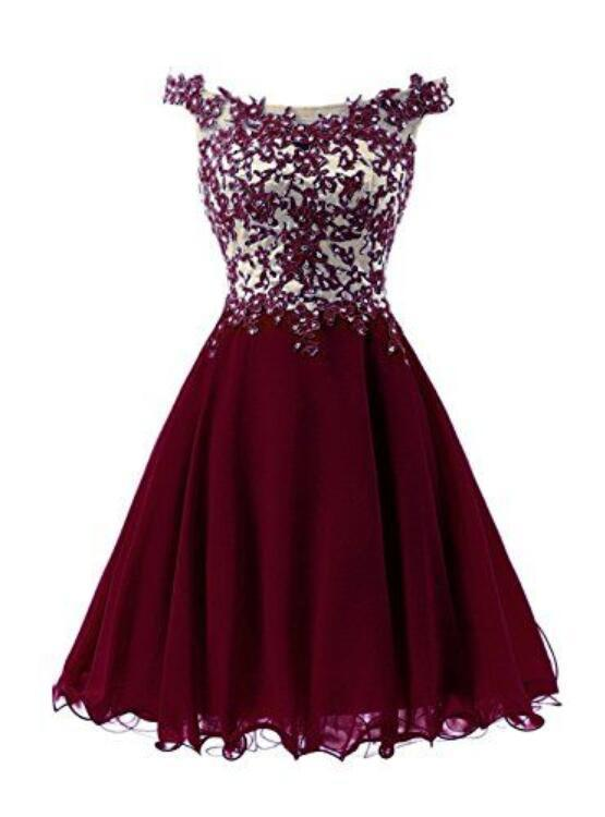 Wine Red Short Homecoming Dress, Off Shoulder Lace Applique Prom Dress