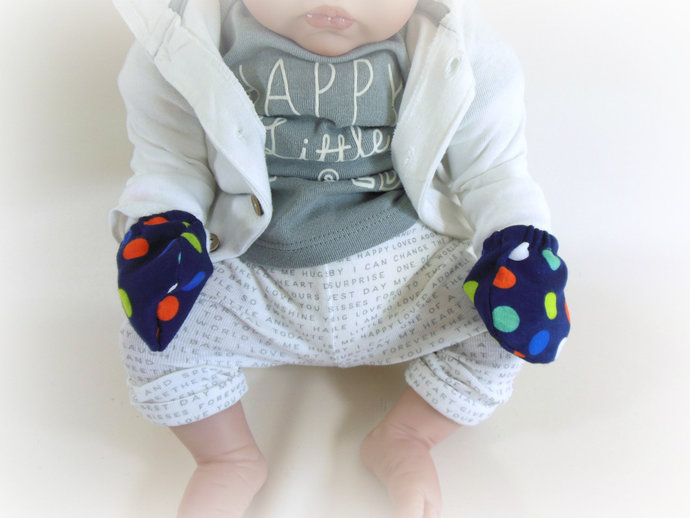 Swaddle Sack,Scratch Mittens, & Tie Knot Headband in Navy and Polka Dots