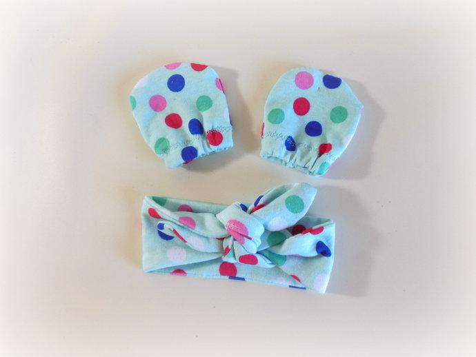Infant Scratch Mittens & Tie Knot Headband in Polka Dots