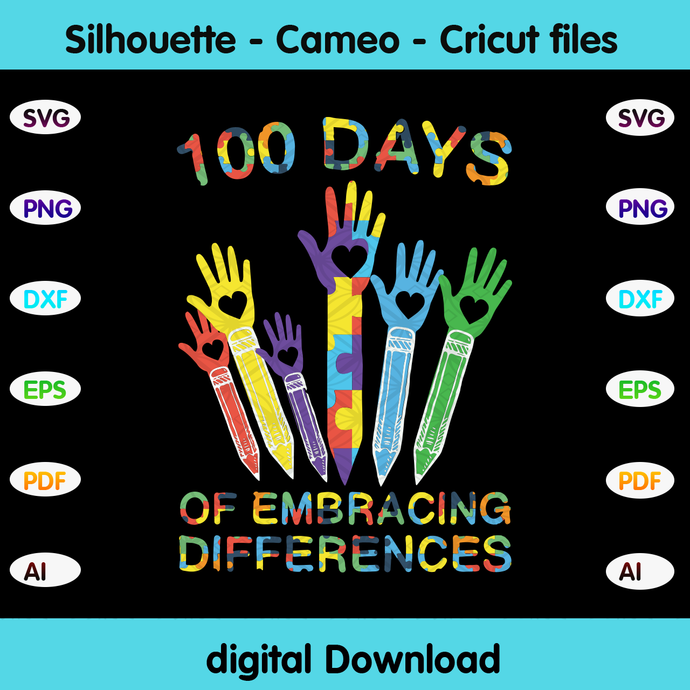 100 days of embracing differences, Happy 100th day of school,hello school, back