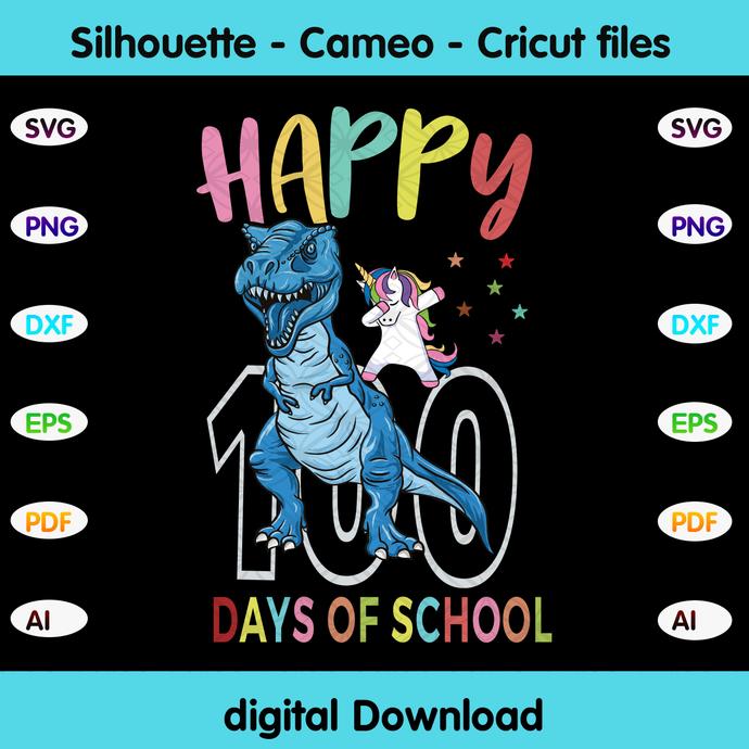Happy 100 days of school,Happy 100th day of school,dinosaur svg, unicorn