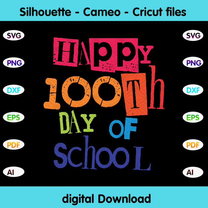 Happy 100th day of school,100th day of school svg,Happy 100th day of