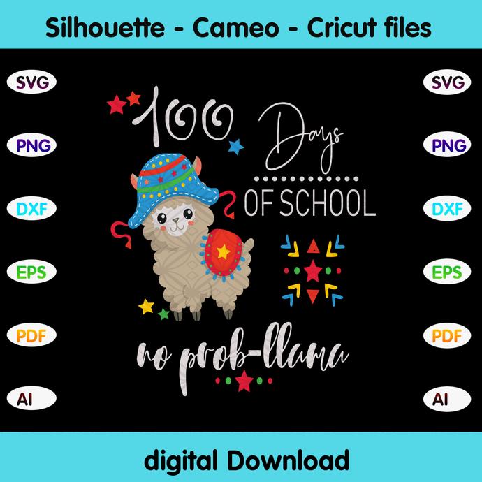 100 days of school no pro llama, llama gift,llama back to school,prollama svg,