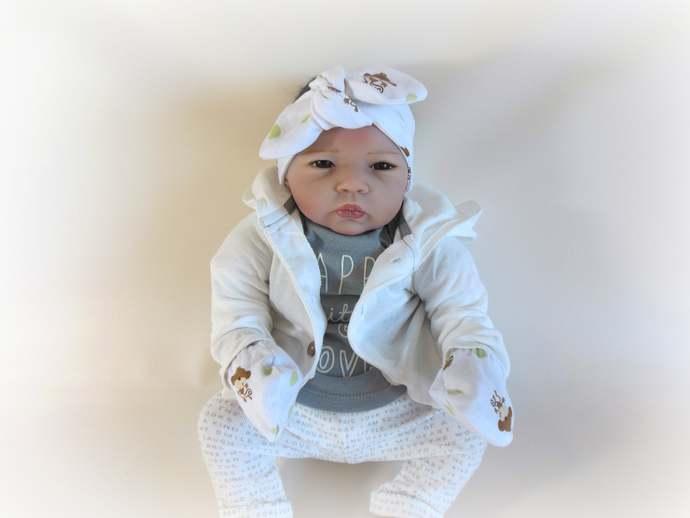 Monkey Infant Tie Knot Headband or Infant Scratch Mittens, Monkey Baby Headband,