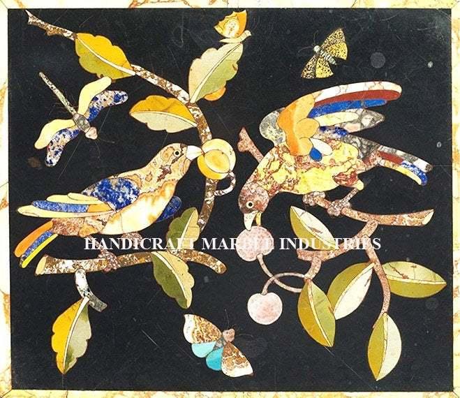 Wall Panel Modern Bird & Butterflies Design Black Marble Inlay Home Decor
