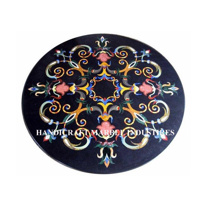 Round Black Marble Table Pietra Dura Inlay Marquetry Design Entryway Decor
